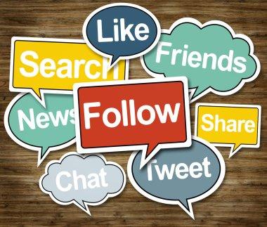 Speech Bubbles with social media symbols