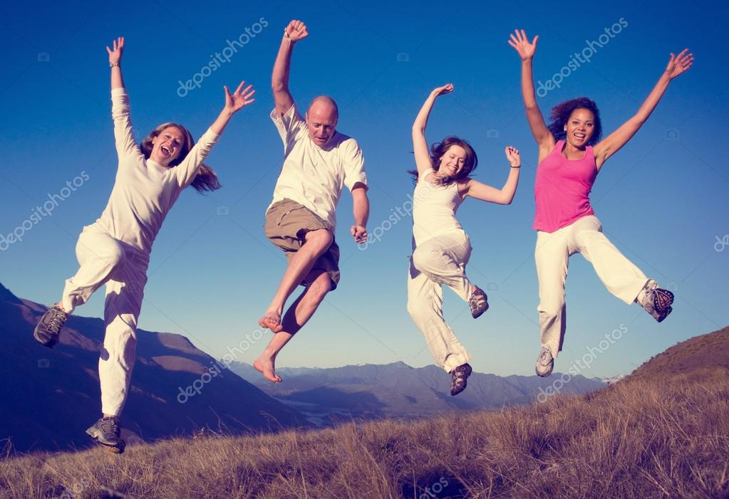 People Jumping Outdoors