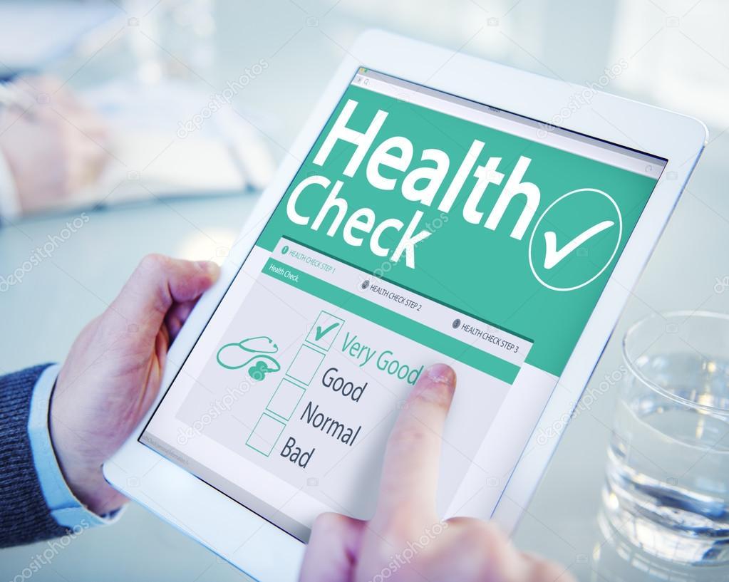 Concetto di sanit digitale health check foto stock for Concetto aperto di piani coloniali