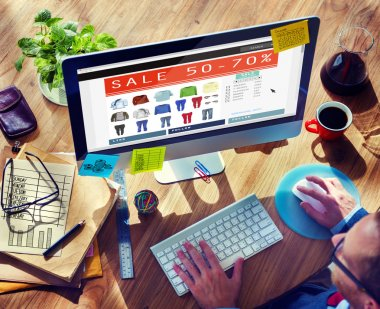 Man doing Online Marketing Ecommerce Sale