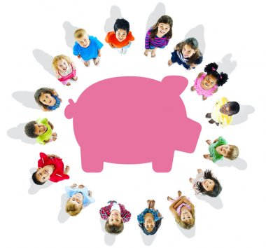Group of Children and Savings Concepts