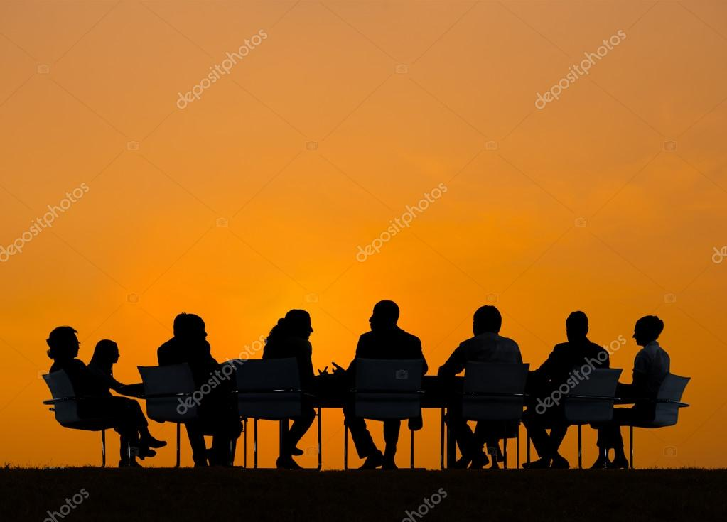 Business People in Meeting Outdoors