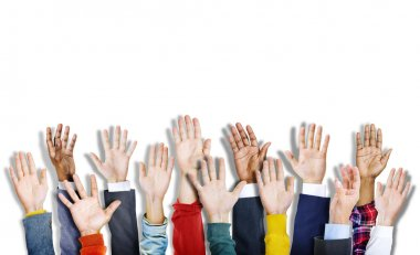 Diverse Colorful Hands Raised
