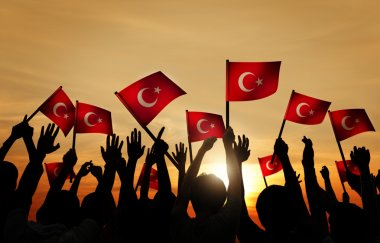 People Holding the Flags of Turkey