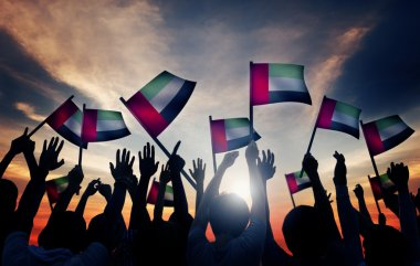 People Waving Flags of UAE