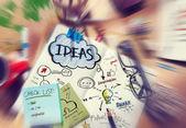 Chaotischen Schreibtisch mit Ideen-Konzepte