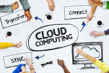 Business People Pointing to Cloud Computing