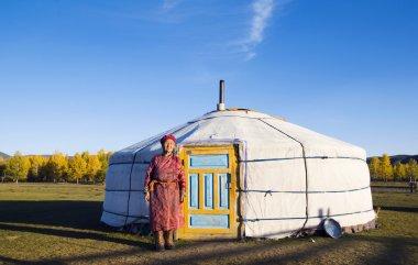 Mongolian Lady near Tent