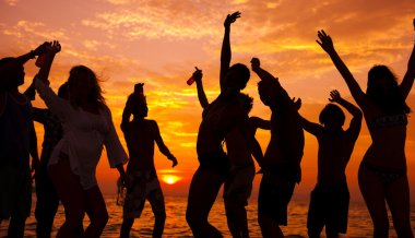Multi-ethnic People Partying on beach