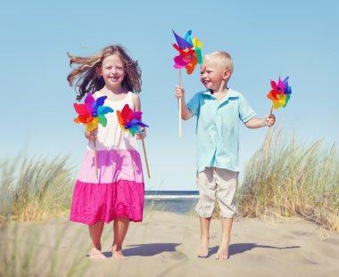 Children Playing Pinwheels