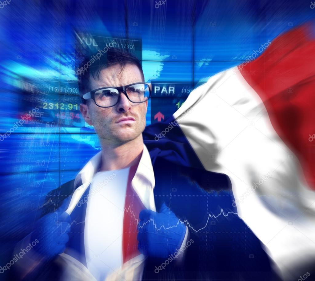 45403241b9 Bandeira de empresário de super-herói da França. Conceito de mercado de  ações francês — Foto de Rawpixel