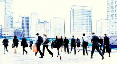 Business People in Rush Hour Walking