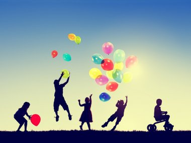 Little Children with balloons