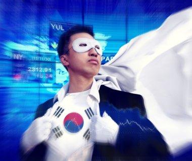 Superhero Businessman at South Korea Stock Market Concept