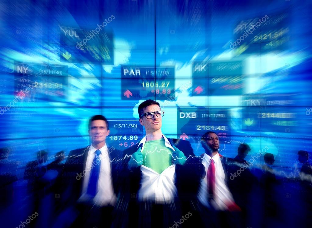 Superhero Businessmen at Stock Market Concept