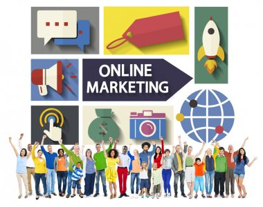 People and Online Marketing Concept