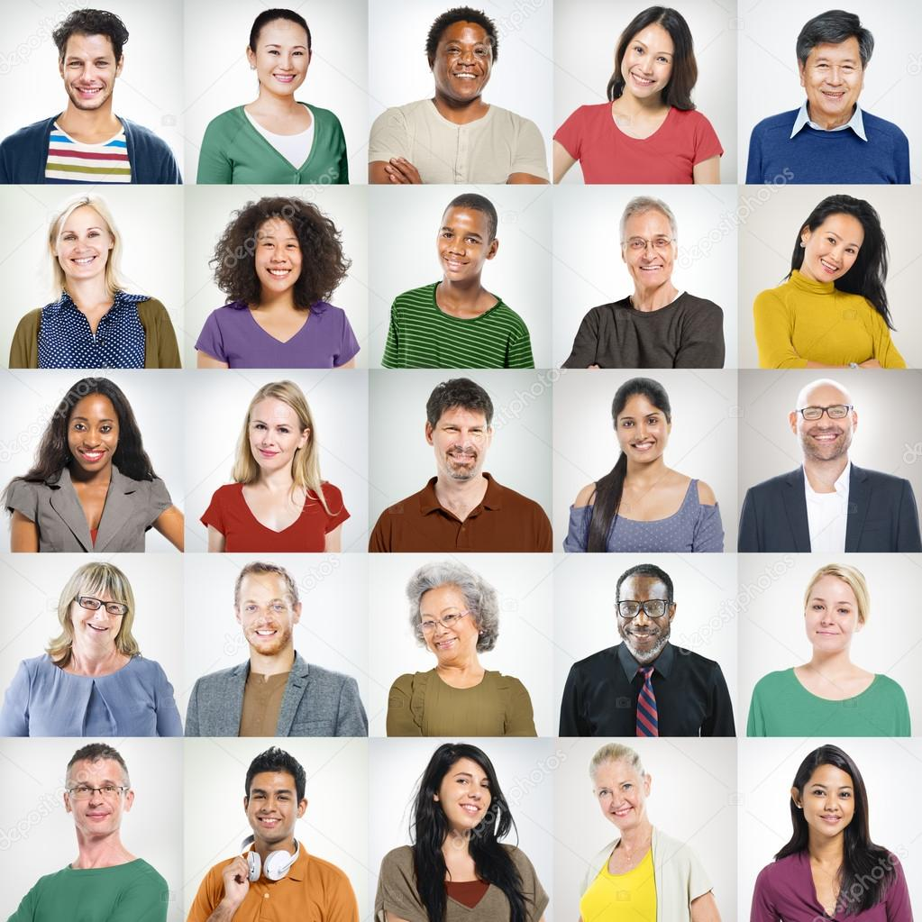 people faces portrait multiethnic cheerful group stock photo