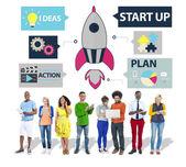 Gruppo di persone e il concetto di innovazione di avvio