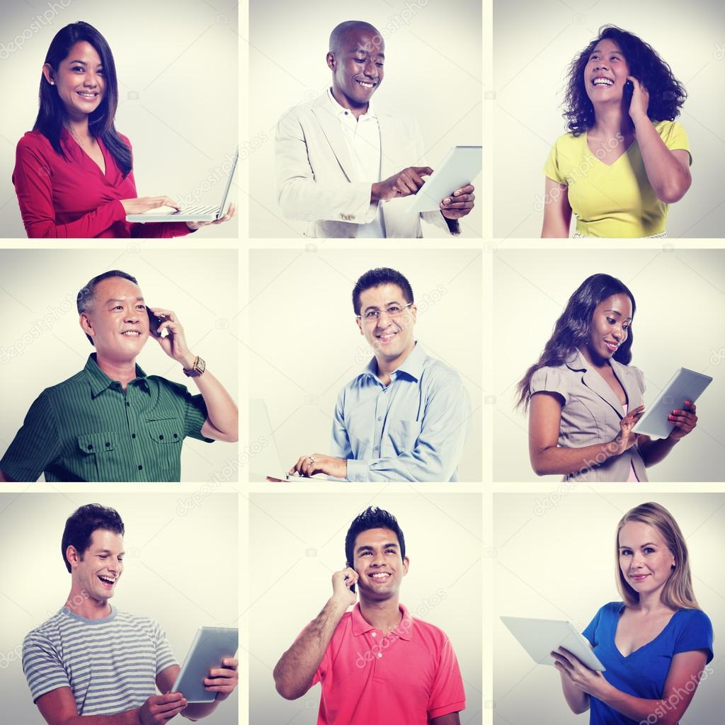 Diversity, group of People portrait with Global Communication