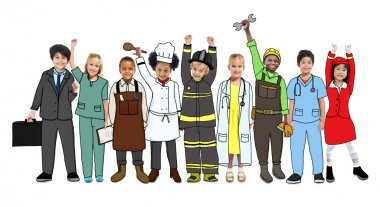 Group of children in various professions