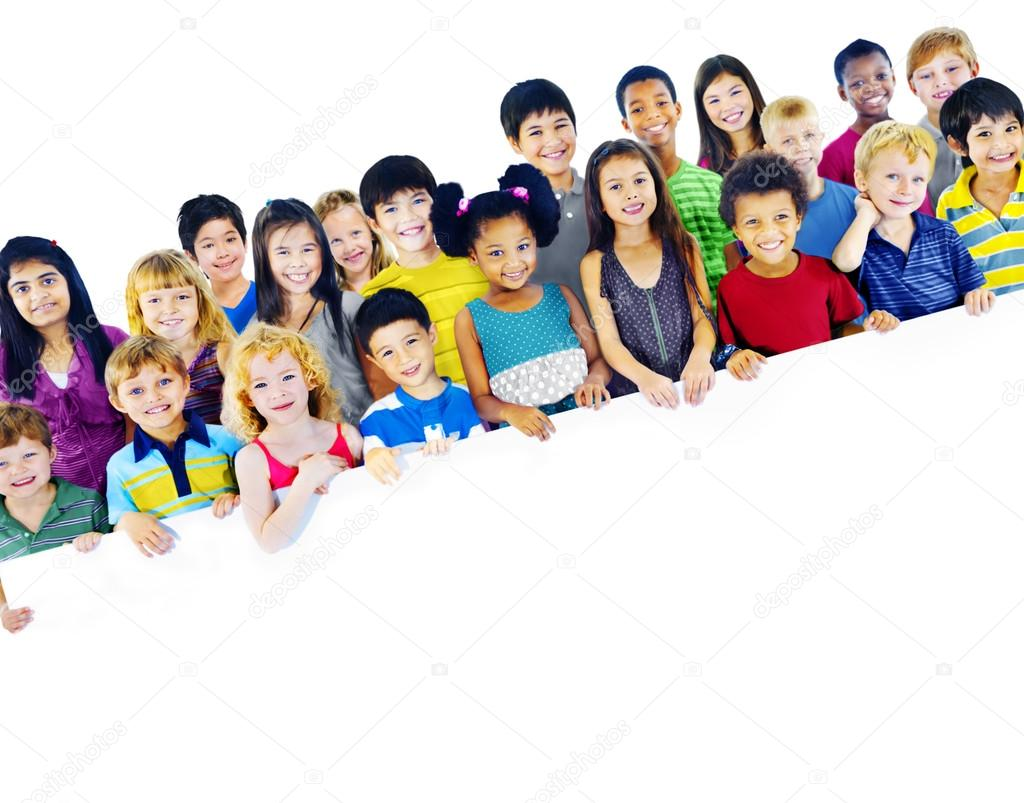 Group of Multiethnic children with empty board