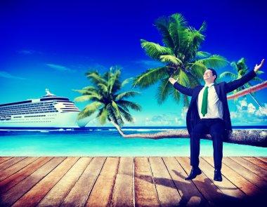Businessman Travel Beach Relaxing