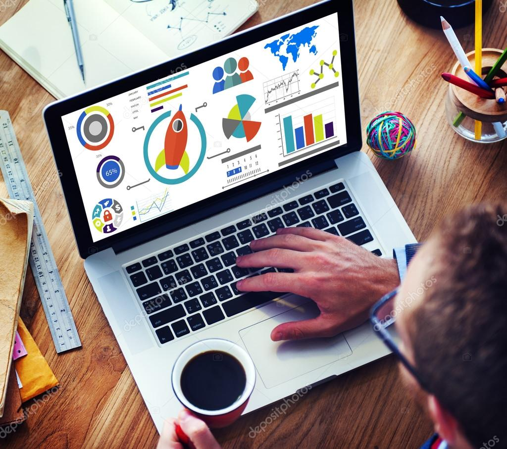man using laptop and New Business Chart
