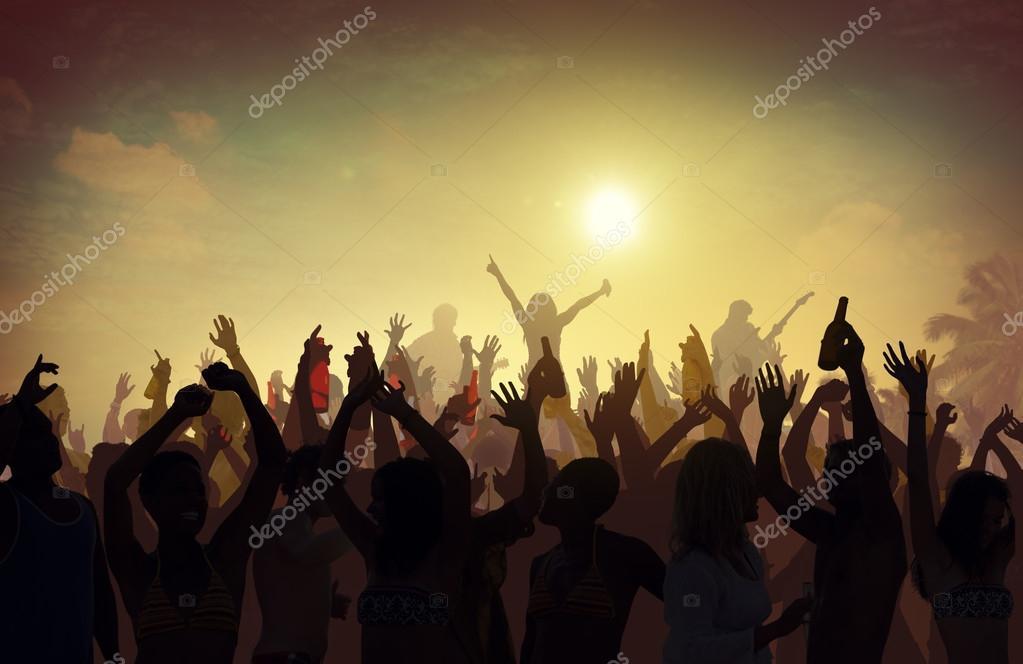 Fans at Summer Festival Music Dancing Concert
