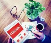 digitális online domain internet-web hosting működő fogalom