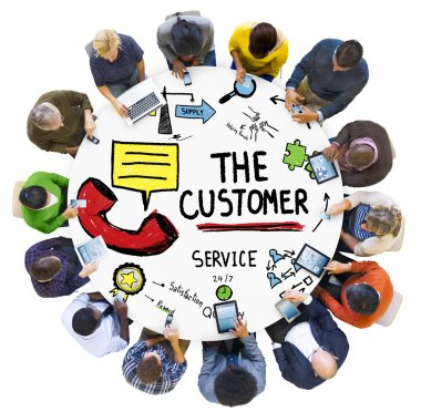 Diverse people and The Customer Service