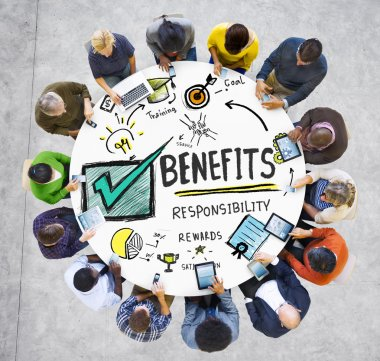 People around the table with Benefits Concept