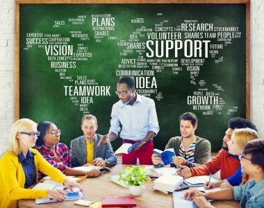 Diverse people discussing about Support