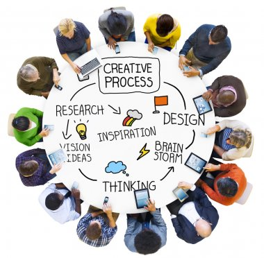 Diverse people and Creative process concept