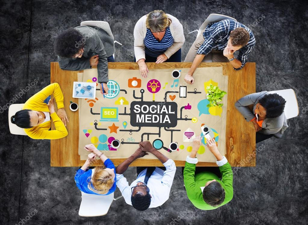 Diverse people and Social Media Concept