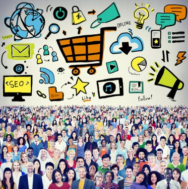 Diverse people and Online Marketing