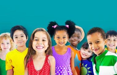 Cute diverse kids smiling