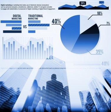 Digital Marketing Graph Statistics Analysis Finance Market