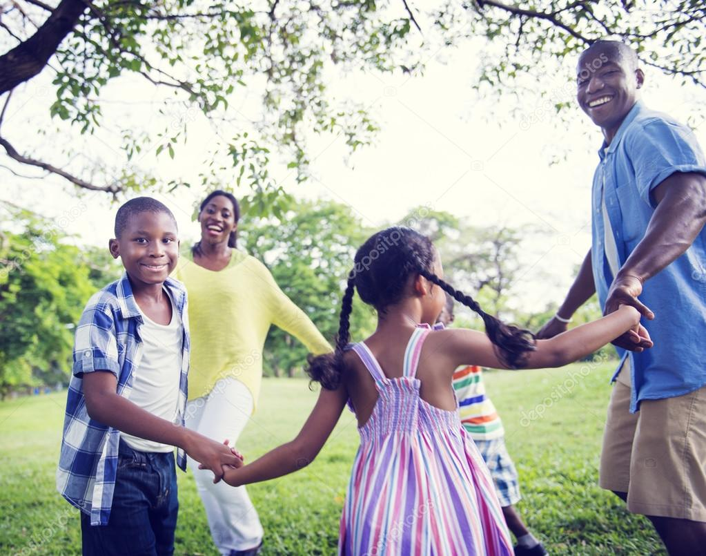 Happy African family in the park