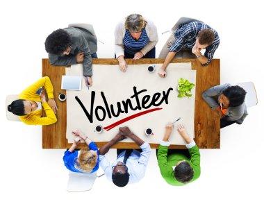 People in Meeting and Word Volunteer