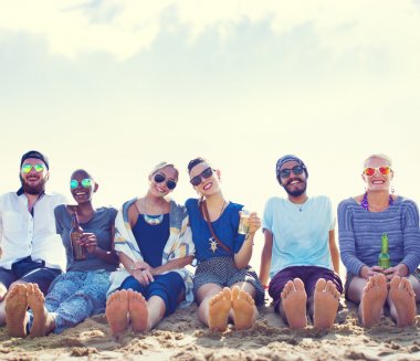 Friends Beach Party Chilling Concept
