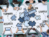Concetto di collegamento di lavoro di squadra