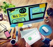 Web Design-Medien-Inhalte Glühbirne Inspiration Konzept