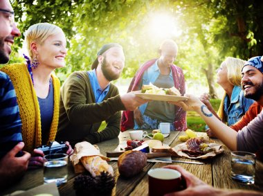 Diverse People Luncheon Outdoors