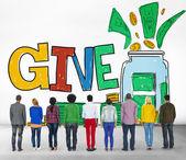 Poskytnout pomoc dar charitativní koncept