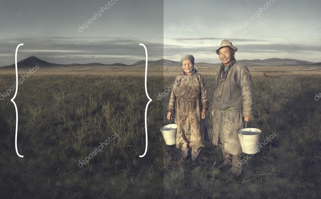 Mongolian Couple Farmers