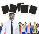 Fotografie Business People with Polaroid Papers Concept