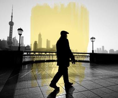 Man Alone Walking at street