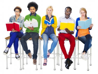 Diverse Colorful People Reading Books