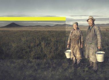Mongolian Couple Farmers