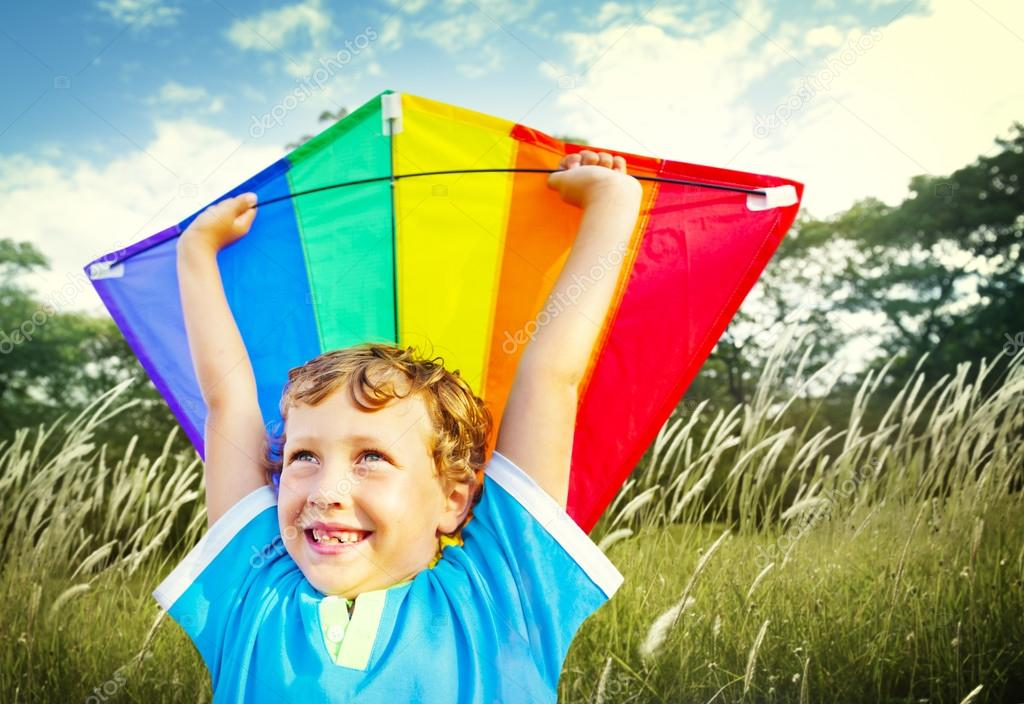 Little Boy Playing Kite